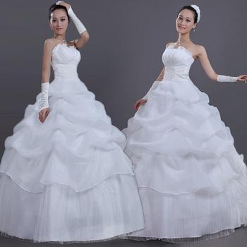 Бесплатная доставка новый 2014 белая сексуальная с плеча спинки цветок невесты свадебное сладкая принцесса тонкий свадебное платье
