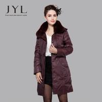 JYL Luxury large genuine fox fur collar women coat winter long,classic plus size 4XL women parkas winter 2014 fur clothing