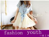 dress chiffon young girl  bow lady's casual cute novelty dress vestidos knee-length chiffon dress freeship