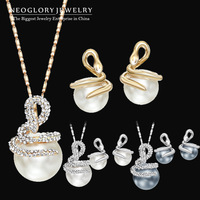 Neoglory Rhinestone Pearl Jewelry Sets 14k Gold Plated Necklace & Earrings Snake Designer Fashion Jewelry Charm Brand 2014 New