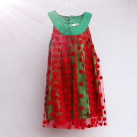 Hot sale (5pcs/lot) 0~6age 2014 new summer princess cute straight polka dots girl dress shij183