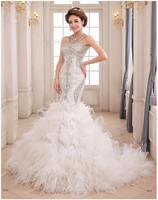 Luxury Sweetheart Beaded Crystals Sleeveless Feather Mermaid Wedding Dresses