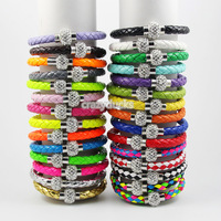 12Pcs/Lot Wholesale Hot PU Leather Bracelet & Disco Ball Crystal Shamballa Magnetic Clasp Bracelet Free Shipping
