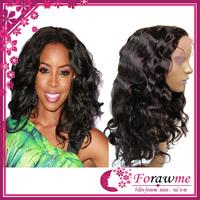 Forawme Hair  #1b black body wave swiss full lace human hair wigs brazilian 130% density brazillian human hair medium size wig