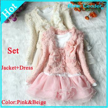 [ Bear Leader ] Retail dress+jacket Beautiful Girls  Cardigan and Dimante Dress Tutu baby kids Children clothing AQZ024
