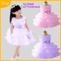 1pc Retail summer flower girls' dresses New 2013, princess dress, sleeveless, fashion layed, bow, pink/purple, Free Shipping