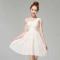 Wholesale and Retail 2014 Chiffon Bridesmaid  One Shoulder Wedding Formal Dress