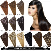 100% Virgin Remy Hair Clip Human Hair Extensions 15inch 7 pieces 70gram Full Sead Set 28 Colors available Free shipping