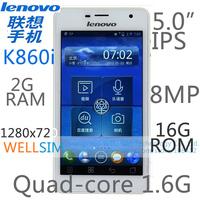 Original Lenovo K860i Multi language Mobile phone 5.0IPS 1280x720 Quad-core1.6G 2GB RAM 16G ROM  Android 4.0 8MP