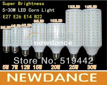 HIGH POWER-Super brightness 5W 7W 10W 12W 15W 20W 25W 30W E27 E26 E14 B22 5050SMD 360degree Corn Bulb Light Maize Lamp LED Light