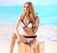 2015 Hot Push Up Bikini Set Triangle Swimwear Halter Patchwork Swimsuit Sexy Women's Biquini Beachwear 1309