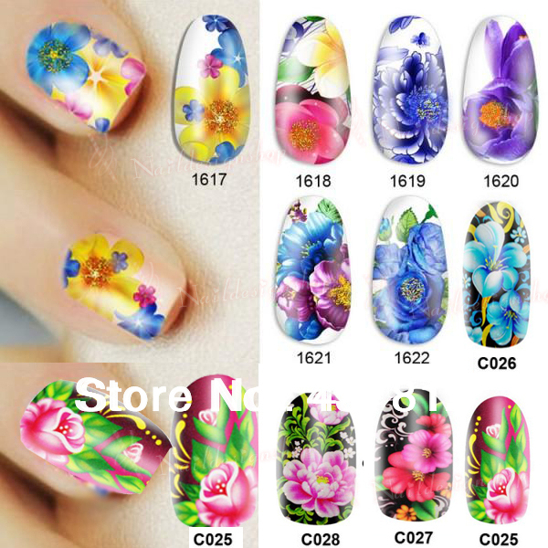Nail Beauty Nature Colorful Flower Diy Nail Art Polish Foils Decal Stickers Tips Wraps Decoration Water Transfers 10 piece/1 lot(China (Mainland))