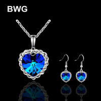 BWG Fashion Jewelry 2015 New Jewelry Silver Plated With Crystal Heart Pendant Necklace Earring Sets For Women JS11