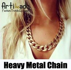 Artilady hot sale 18k gold chunky chain necklace jewelry choker collar necklace 2015 women jewelry(China (Mainland))