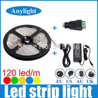 3528 600 Led 5M 120Led/m 12V SMD Flexible LED Strip Light +5A Power +DC Adaptor  White/Warm White/Blue/Red/Green/Yellow WLED15