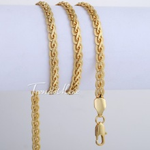 5mm Flat Wheat Mens Chain 18K Gold Filled Necklace Chain Hammered Womens Necklace Bracelet Wholesale Gift