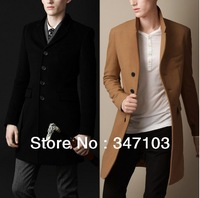 80% cashmere pea coat for men authentic brand 2013 cheap designer clothes BLACK 3XL wool coat mens jackets and coats LONG TRENCH