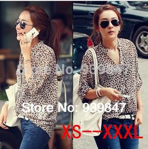 Free Shipping 2014 New Women Chiffon Sexy Leopard Print Summer Shirt/Camisa feminina/Top Button Down Blouse XXXL plus size(China (Mainland))