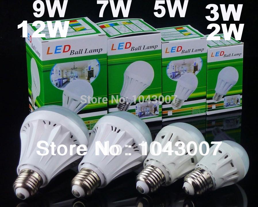 5pcs/lot Free Shipping Colorful Box Packing E27 2W/3W/5W/7W/9W/12W SMD2835 Led Bulb Light(China (Mainland))