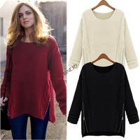 2014 New Europe Hot Women Long Sleeve Pullover Crewneck Side Zipper Knitted Sweater Jumper 19167