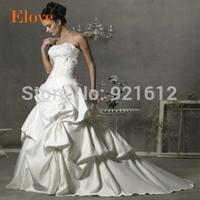 2015 A-line Casamento Mariage Cheap Vestido De Novia Gown Bride Sexy Fashionable Simple Vintage Satin Train Wedding Dress WDB55
