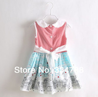 Striped Girls' Dresses New 2014 Girl Clothing Summer Casual Dress Girl Flower Brand Designer Clothes 100 % Cotton Kids Wear