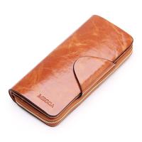2014 Vintage wallet genuine leather zipper long women lady purse fashion clutch women wallet holder card holder