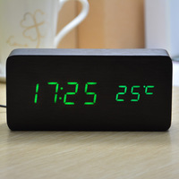 LED Display Digital clock,alarm clock Temperature Sounds Control activated ,Battery/luminova display home decor table clocks