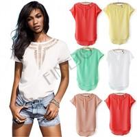 2014 New Women Plus size Chiffon Blouse Front Hollow Out Vintage O-neck Short Batwing Sleeve Shirt Blouse 5 Colors SV000441 4