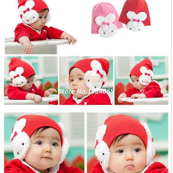 DropShipping Baby Boys Girl Kid Winter Protective Ear Cap Animal Rabbit Crochet Beanies Hat 5440(China (Mainland))