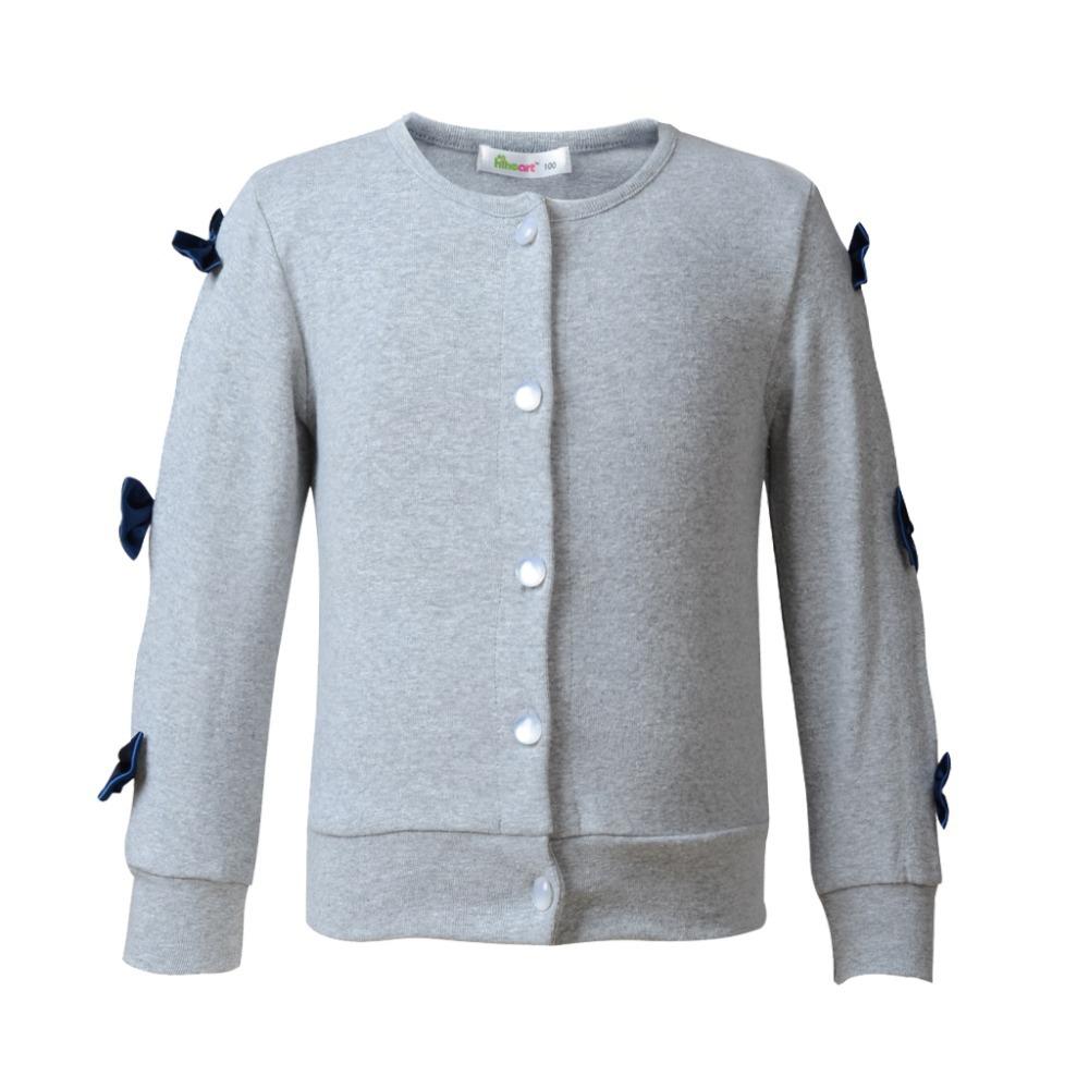 Free Shipping Girl Knit Cardigan Cotton Bow knot Baby Girl Blouses Kid Outwear O-Neck Long Sleeve Girl Shirt Pink Grey 2-7 YRS(China (Mainland))