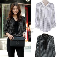 Ladies' Casual Blouse Spring Elegant Dot White Black Bowknot Long Sleeve Loose Chiffon Shirt Blouse S M L SV001000 b007