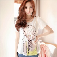 New Arrival Women loose T-shirts Sparkling Diamond Beauty O-neck womens short sleeve blouse Chiffon T-Shirts Blouse SV001491 B9