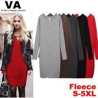 winter casual dress women xxxl 4xl 5xl plus size women casual dresses cotton long sleeve women's new 2014 big size clothes