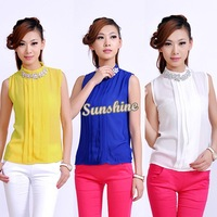 New Fashion Women Women blouses Lady Rhinestone Embellished Collar Sleeveless Chiffon Tops Shirt SV000918 B19