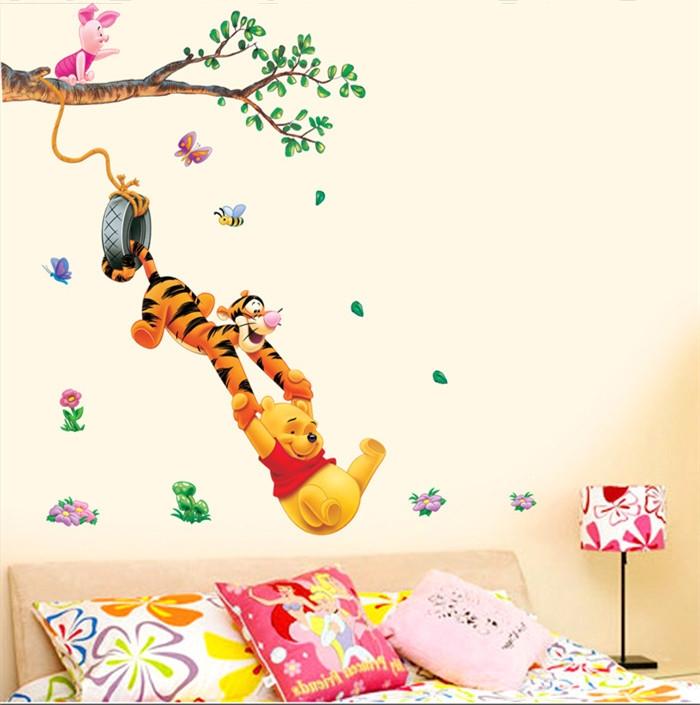Animaux de dessin animé palmier. pooh autocollants muraux en vinyle pour les chambres d'enfants boys girls maisondécor l'enfant. sticker stickers muraux de décoration à la maison