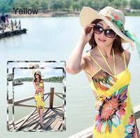 2014 High Quality Summer Sexy One Piece Swimwear Deep V Wrap Front Cover Up Brand Beach Dress Women Bikini Set SV001144#006