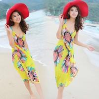 2014 Summer Women Sexy Beach Dress Deep V Wrap Chiffon Swimwear Bikini Set Cover Up Sarong Bohemian Casual Dresses SV001144#006