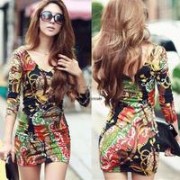 New 2014 Womens Sexy Dress V-Neck Backless Bodycon Halter 3D Prints Floral Fit Slim Mini Summer Dresses Tunic b15 SV001883
