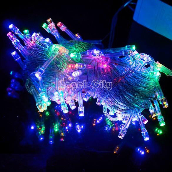 3Colors 10M 100 LED Lights Decorative Christmas Party Festival Twinkle String Lights Bulb 220V EU Drop shipping SV16 CB003726(China (Mainland))