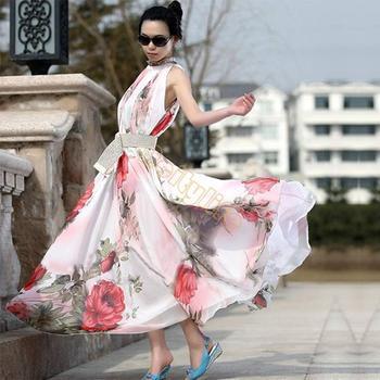 Новый 2014 мода женщины лето длинное платье шифон макси платье богемия дрожь пляж длинное летнее платье 41