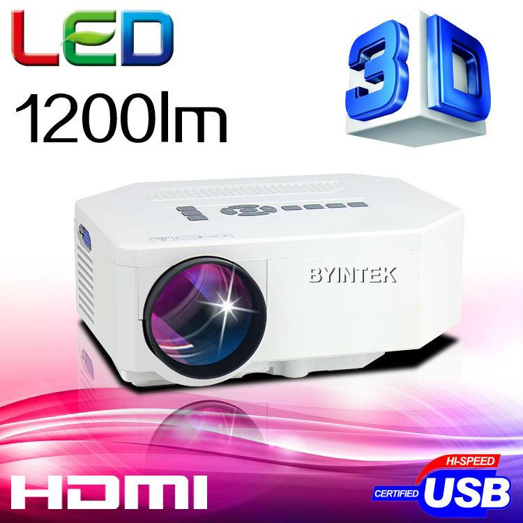 Byintek 1200 lumens, 1080p hd. 3d home cinéma cinéma hdmi usb jeux vidéo mini projecteur led
