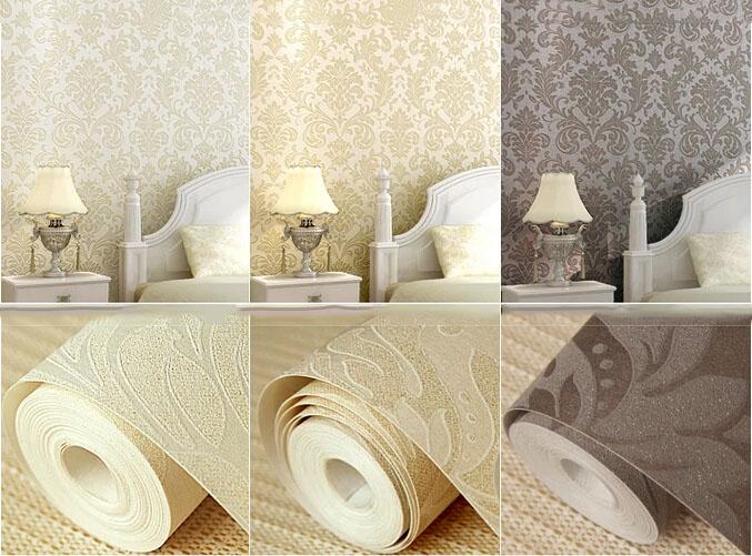 beige champagne ochre european luxurious damask non woven wallpaper 3d