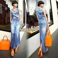 Plus Size Dress Women Summer Dresses Vintage Slim Long Denim Jean Pocket Back Split Sleeveless Dress b7 SV005690