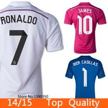 Real Madrid 2015 de Futebol Away Home Camiseta James 14 15 Treinamento Pink Shirt Jacket Football Champions League Uniformes(China (Mainland))