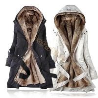 Korean Women Long Sleeve Thicken Fleece Hooded Parka Lady Winter Long Coat Jacket Outwear Green Black Plus M L XL B11 3450