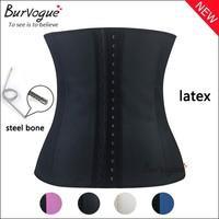 2015 hot waist body shaper sexy women Deportiva Sport Latex Waist Cincher steel bone corset top Ann Chery Style black underbust