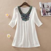 Summer dress 2014 women fashion embroidered dress plus size women Bohemian clothing girl brand casual dresses L.XL.XXL-3XL