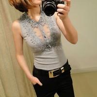 2014 Hot Fashion Women Elegant Vest Lace Tank Sleeveless Tops White/Black/Gray Lapel Joker Threaded Slim Camisole B26