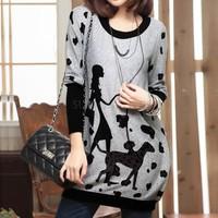2014 T-Shirt Women Brand Autumn Sweater Dress Womens Clothing One Piece Dress Loose Long Cartoon Pattern Pullover Sv18 Cb031799